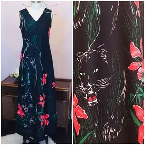 Vintage Empire Waist Dress w Flowers and Panthers